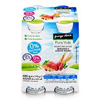 Iogurte Líquido Magro 0% Lactose Morango e Cereais Pura Vida 4x179g