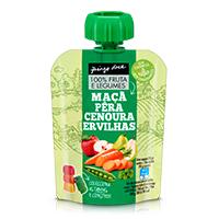 Bolsa 100% Fruta e Legumes Maçã, Pêra, Cenoura e Ervilhas Pingo Doce 90g