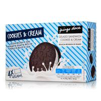 Gelado Sandwich Cookies & Cream Pingo Doce 4 Unidades