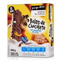 Barras de Cereais Bolas de Chocolate com Cobertura de Leite Pingo Doce 6 Unid.